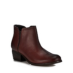Clarks - Brown leather 'May Pearl Ramie' mid block heel boots