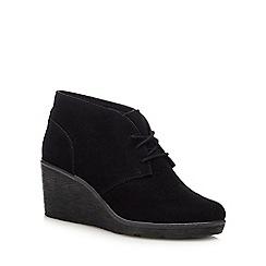 Clarks - Black suede 'Hazen Charm' mid wedge heel boots