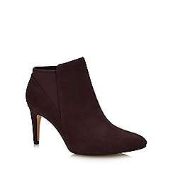 Clarks - Dark Purple Leather 'Laina Violet' Stiletto Heel Ankle Boots