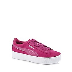 Puma - Dark pink suede 'Vikky' flatform heel trainers