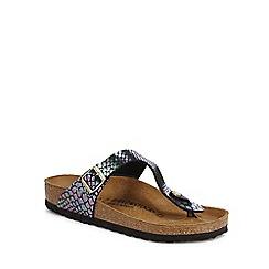 Birkenstock - Black snakeskin-effect 'Gizeh' sandals