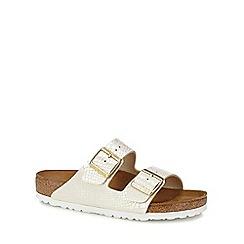 Birkenstock - Cream snakeskin-effect 'Arizona' double strap sandals