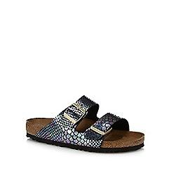 Birkenstock - Black snakeskin-effect 'Arizona' double strap sandals