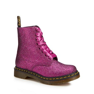 Dr Martens - Bright pink glitter 'Pascal' lace up boots