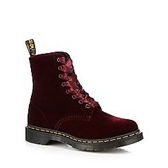 Dr Martens - Dark red velvet '1460 Pascal' lace up boots