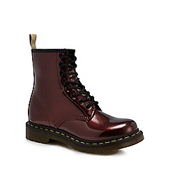 Dr Martens - Dark red '1460 Vegan Chrome' lace up boots