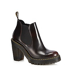 Dr Martens - Dark red leather 'Hurston' block heel Chelsea boots