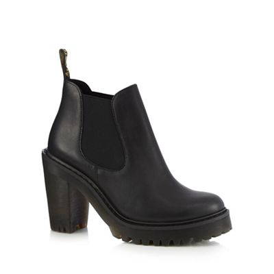 Dr Martens   Black Leather 'hurston' Block Heel Chelsea Boots by Dr Martens