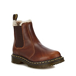 Dr Martens - Dark tan leather 'Leonare' Chelsea boots