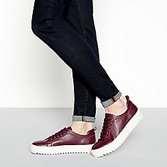 J by Jasper Conran - Wine red flatform cleated heel trainers