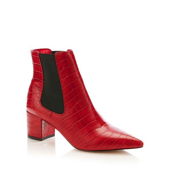 croc effect heel Chelsea J Conran Red boots block by Jasper WIw4g