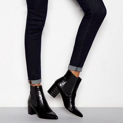 5ecb99d6d J by Jasper Conran Black croc-effect block heel Chelsea boots ...