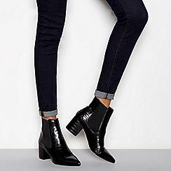 J by Jasper Conran - Black croc-effect block heel Chelsea boots
