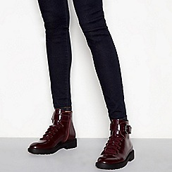 J by Jasper Conran - Wine leather 'Jace' biker boots