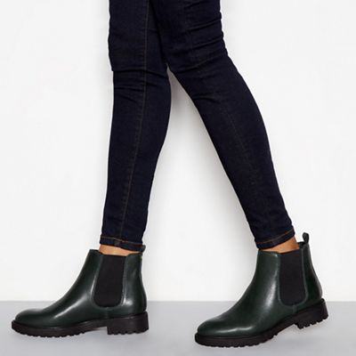3253650c11f J by Jasper Conran Green leather  Jasual  Chelsea boots
