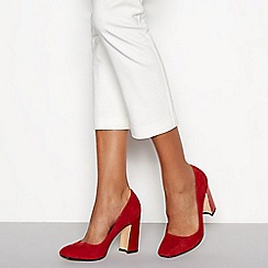 J by Jasper Conran - Red suedette 'Jip' block heel court shoes