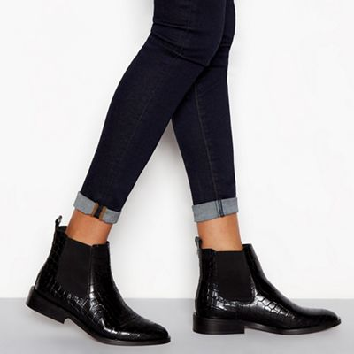 946fee1edd9 J by Jasper Conran Black leather croc-effect Chelsea boots