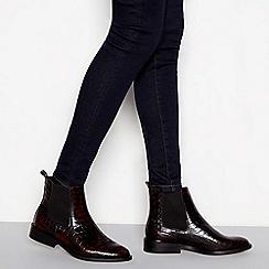 J by Jasper Conran - Dark brown leather croc-effect Chelsea boots