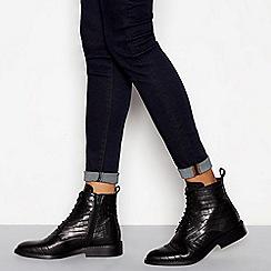 J by Jasper Conran - Black leather croc-effect lace up boots