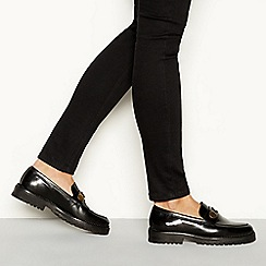 J by Jasper Conran - Black studded leather 'Joafer' flat loafers