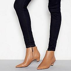 J by Jasper Conran - Camel leather 'Jitty' kitten heel boots