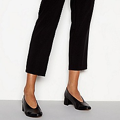 J by Jasper Conran - Black leather 'Jare' block heel court shoes