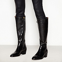 J by Jasper Conran - Black Croc Effect Leather 'Jellie' Knee High Boots