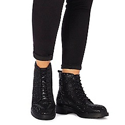 Faith - Black diamante 'Barkle' biker boots
