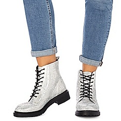Faith - Silver diamante 'Barkle' biker boots