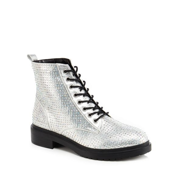 diamante 'Barkle' Faith biker boots Silver w5qYfOA