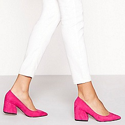 Faith - Pink suedette Chase mid block heel court shoes