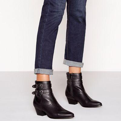 Faith - Black western double buckle mid heel ankle boots