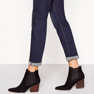 Faith   Black Suedette Mid Block Heel Pointed Chelsea Boots by Faith