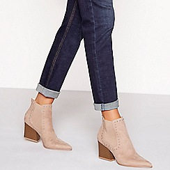 Faith - Natural suedette mid block heel pointed chelsea boots