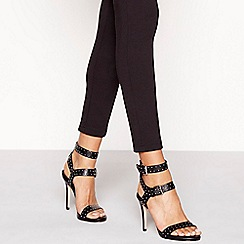 Faith - Black studded high stiletto heel sandals