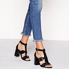 Faith - Black suedette buckle 'Darota' high block heel ankle strap shoes