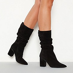 Faith - Black ruched suede 'Brew' high block heel pointed toe boots