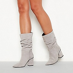 Faith - Grey ruched suede 'Brew' high block heel pointed toe boots
