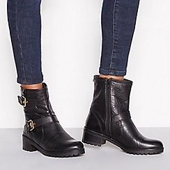Faith - Black double buckle leather mid heel biker boots