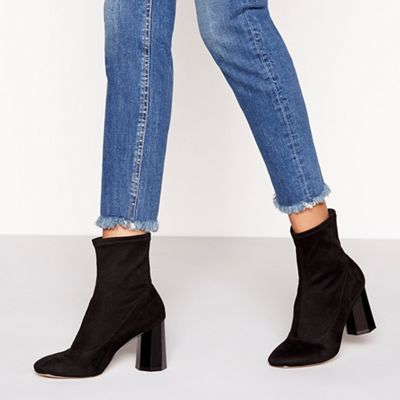 Faith - Black suedette 'Bock' high block heel sock boots