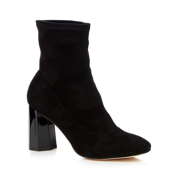 'Bock' block sock Faith boots high heel suedette Black BqzET