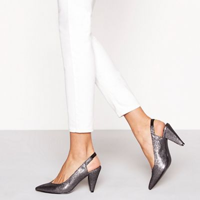 Faith - Metallic glitter 'Cone' high stiletto heel slingbacks
