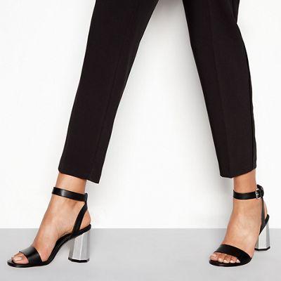 Faith - Black faux leather 'Donovan' high block heel ankle strap sandals