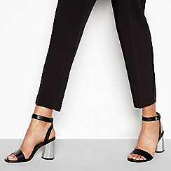 Faith - Black faux leather 'Donovan' high block heel ankle strap sandals