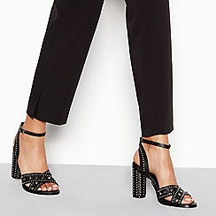 Faith - Black stud 'Lynx' high block heel ankle strap sandals