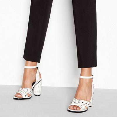 Faith - White stud 'Lynx' high block heel ankle strap sandals
