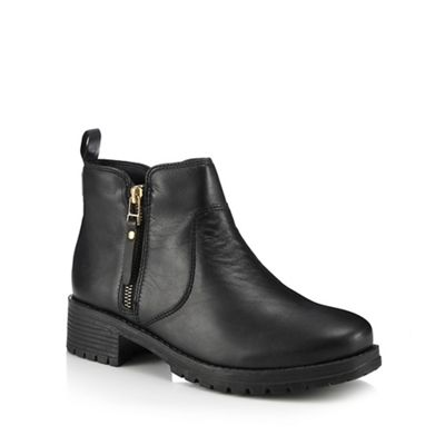 Faith - Black leather 'Bea' mid block heel ankle boots