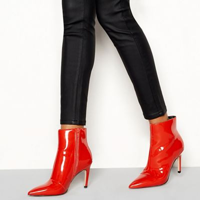 Faith - Red patent 'Bate' stiletto heel ankle boots