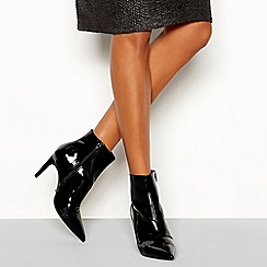 Faith - Black patent 'Bate' stiletto heel ankle boots