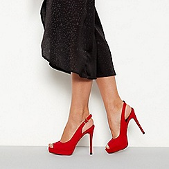 Faith - Red suedette 'Looker' high stiletto heel sling back shoes
